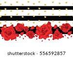 Stock vector horizontal seamless background with red roses vector illustration 556592857