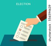 voting concept  hand putting... | Shutterstock . vector #556594639