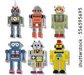 vintage retro robots set toys... | Shutterstock .eps vector #556595695