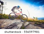 female mountain biker riding ... | Shutterstock . vector #556597981