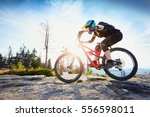Woman Riding Mtb Mountain Bike...