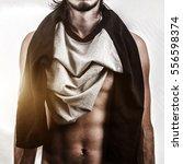 muscular male body on white...   Shutterstock . vector #556598374