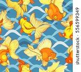 underwater life  goldfish ... | Shutterstock .eps vector #556599349