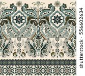 border indian floral paisley... | Shutterstock .eps vector #556602634