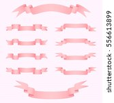 realistic pink glossy ribbons.... | Shutterstock .eps vector #556613899