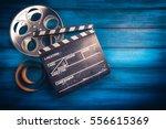 35mm film  reel and movie... | Shutterstock . vector #556615369