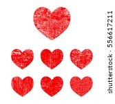 heart set. grunge hearts for...