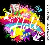 happy holi  a spring festival... | Shutterstock .eps vector #556617775