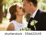 portrait of a couple bride and... | Shutterstock . vector #556623145
