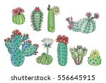 cactus with flowers color set | Shutterstock .eps vector #556645915