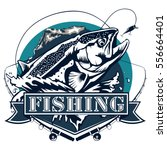 salmon fishing emblem isolated... | Shutterstock .eps vector #556664401
