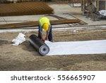 insulation worker preparing... | Shutterstock . vector #556665907