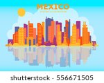 mexico skyline with buildings ... | Shutterstock .eps vector #556671505