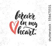 forever in my heart   lettering ... | Shutterstock .eps vector #556675531
