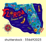 cartoon map of florida state.... | Shutterstock .eps vector #556692025