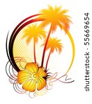 palm and flowers | Shutterstock .eps vector #55669654