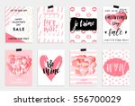 Collection of pink, black, white colored Valentine's day card, sale and other flyer templates with lettering.  Typography poster, card, label, banner design set. Vector illustration EPS10 | Shutterstock vector #556700029
