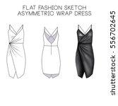flat fashion technical sketch   ... | Shutterstock . vector #556702645