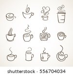 set of simple tea and coffee... | Shutterstock .eps vector #556704034