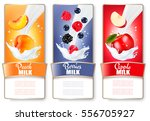 set of three labels of fruit... | Shutterstock .eps vector #556705927