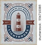 vintage lighthouse typography.... | Shutterstock .eps vector #556710385