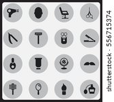 set of 16 editable hairstylist... | Shutterstock .eps vector #556715374