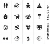 set of 16 editable baby icons.... | Shutterstock .eps vector #556716754