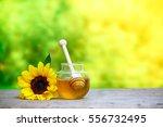 honey in jar with honey dipper... | Shutterstock . vector #556732495