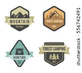 Travel Tourism Logo Badges design vector template Hipster Vintage style. Hiking Trekking Mountains, Forest Camping, Hunting logotypes | Shutterstock vector #556742491