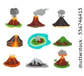 volcano set vector illustration. | Shutterstock .eps vector #556746415