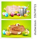 easter horizontal headers with... | Shutterstock .eps vector #556749721