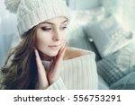 indoor close up portrait of... | Shutterstock . vector #556753291