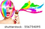 dyed hair humor concept. beauty ...   Shutterstock . vector #556754095