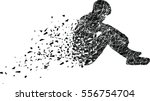 silhouette of very sad young... | Shutterstock .eps vector #556754704