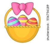 Easter Basket Icon. Cartoon...