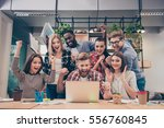 yes  happy multinational young... | Shutterstock . vector #556760845