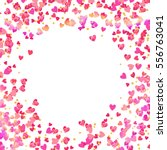 pink heart shaped confetti and... | Shutterstock .eps vector #556763041