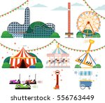 amusement park with attractions ... | Shutterstock .eps vector #556763449