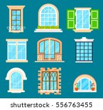 detailed window set isolated... | Shutterstock .eps vector #556763455