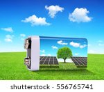 battery with solar panels in... | Shutterstock . vector #556765741