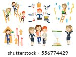 woman looking at hourglass... | Shutterstock .eps vector #556774429