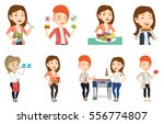 caucasian woman eating... | Shutterstock .eps vector #556774807