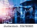 double exposure businessman and ... | Shutterstock . vector #556780885