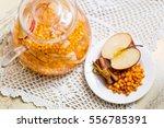 fruit and herbal tea with... | Shutterstock . vector #556785391