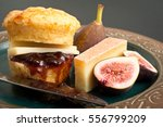savoury cheese scone with fig... | Shutterstock . vector #556799209