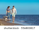 Stock photo two young people running on the beach kissing and holding tight with dog 556803817