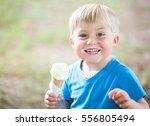 little boy eating ice cream ... | Shutterstock . vector #556805494