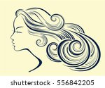 woman hair style silhouette.... | Shutterstock .eps vector #556842205