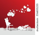 valentines day on red... | Shutterstock .eps vector #556855255