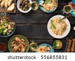 frame of risotto with tomatoes... | Shutterstock . vector #556855831
